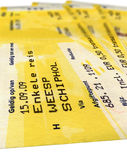 Grunge yellow train tickets isolated, paper,travel. Few grungy (grunge) isolated railway tickets (coupon, voucher) on white background for train (public Stock Photo