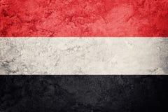 grunge Yemen bandery Jemen flaga z grunge teksturą Obraz Stock