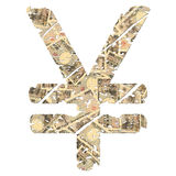 Grunge yen symbol with currency Stock Photography