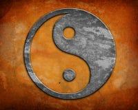 Grunge yin杨符号 免版税图库摄影