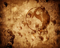 Grunge yin yang symbol background. With some rough scratches Royalty Free Stock Photos