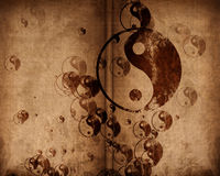 Grunge yin yang symbol background. With some rough scratches Stock Images