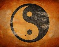 Grunge yinyang symbol Royaltyfri Foto