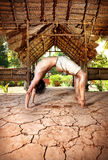 Grunge Yoga Chakrasana Royalty Free Stock Photography