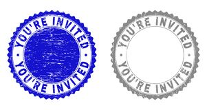 Grunge YOU`RE INVITED Textured Stamps. Grunge YOU`RE INVITED stamp seals isolated on a white background. Rosette seals with grunge texture in blue and gray royalty free illustration