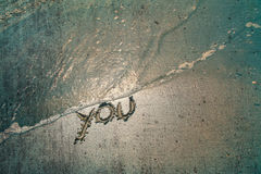 Grunge you sign. Summer vintage color sea with you handwriting sign. Vintage and grunge filter effect used Royalty Free Stock Photo
