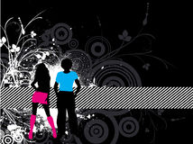 Grunge youth. Abstract grunge background with floral detail and silhouette of funky couple Stock Photography