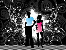 Grunge youth. Hip young people on grunge background with decorative floral elements Stock Photography