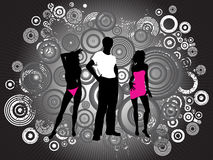 Grunge youth. Hip young people on grunge background with decorative floral elements Royalty Free Stock Photos