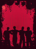 Grunge youth. Silhouettes of young people on grunge style background Stock Image