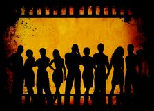 Grunge youth. Group of young people on grunge film strip background Royalty Free Stock Images