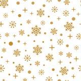 Grunge złociści płatki śniegu na białym tle Bezszwowy zima czasu wzór Zdjęcia Stock