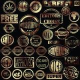 grunge złoci znaczki Obraz Royalty Free