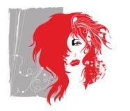 grunge złotowłosy czerwona kobieta Zdjęcia Royalty Free