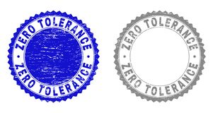 Grunge ZERO TOLERANCE Scratched Stamps. Grunge ZERO TOLERANCE stamp seals isolated on a white background. Rosette seals with grunge texture in blue and grey vector illustration