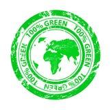Grunge zieleni znaczek Ilustracji