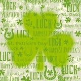 Grunge zielony tło dla Patricks dnia z shamrock, wektor ilustracji