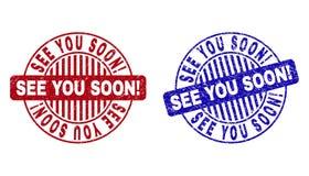 Grunge ZOBACZY CIEBIE WKRÓTCE! Porysowani Round znaczki ilustracja wektor