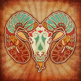 Grunge Zodiac - Aries. Decorative grunge ornament of the zodiac sign Aries Royalty Free Stock Image