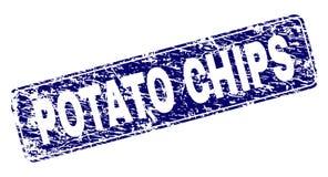 Grungeaardappel CHIPS Framed Rounded Rectangle Stamp vector illustratie