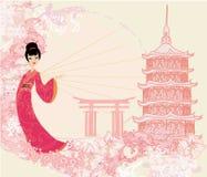 Grungeabstrakt begrepplandskap med den asiatiska flickan Royaltyfria Bilder