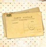 Grungeachtergrond met document textuur en uitstekende prentbriefkaaren Royalty-vrije Stock Afbeeldingen