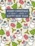 Grungeachtergrond met Kerstmiselementen en labe Royalty-vrije Stock Afbeelding