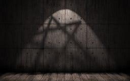 Grungeachtergrond met schaduw in de vorm van een pentagram, ster Stock Foto's