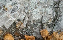 Grungeachtergrond van oud gebarsten glas en bruine bladeren Royalty-vrije Stock Afbeelding