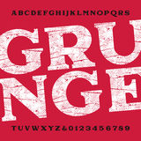 Grungealfabetstilsort Dirty skrapade typbokstäver och nummer Arkivbild
