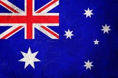 GrungeAustralien flagga Australien flagga med grungetextur Fotografering för Bildbyråer