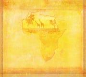Grungebakgrund med afrikansk fauna och floror royaltyfri illustrationer