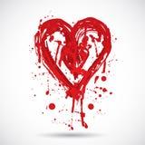 Grungebakgrund med ljus röd hjärta måla färgstänk vektor Fotografering för Bildbyråer