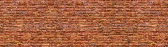 Grungebakstenen muur, oud metselwerkpanorama stock afbeelding