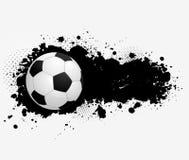 Grungebanner met voetbalbal Royalty-vrije Stock Afbeeldingen