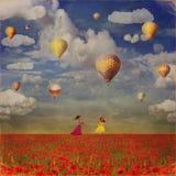 Grungebeeld van kleine meisjes met kleurrijke hete luchtballons royalty-vrije illustratie