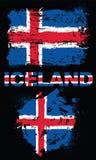 Grungebeståndsdelar med flaggan av Island Fotografering för Bildbyråer
