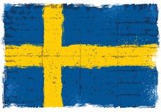 Grungebeståndsdelar med flaggan av Sverige Fotografering för Bildbyråer