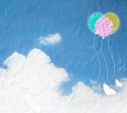 Grungebild av blå himmel med moln och färgrikt Färgrik ballo Royaltyfri Foto