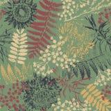 Grungebloemen en bladeren stock illustratie