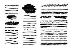 Grungeblyertspennalinje Klottra kritaborsten, svart textur för klottergrafitkonst, handen som dras för att skissa beståndsdelar G vektor illustrationer