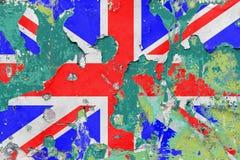 Grungebritt, Förenade kungariket flagga Fotografering för Bildbyråer