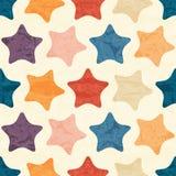 Абстрактная безшовная картина с grunged красочными звездами Стоковая Фотография RF