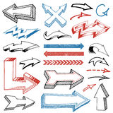 Grunged Hand Drawn Arrows set Royalty Free Stock Images
