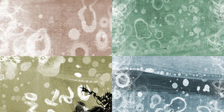 Grunged web banners. Four grunged and dirty banners of different color Stock Photos