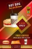 Grungedekking voor Snel Voedsel met hotdog en koffie vector illustratie
