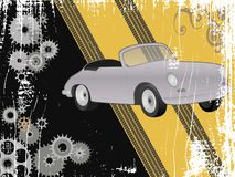 Grungedesign med den retro sportbilen Arkivbilder