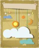 Grungedocument geweven achtergrond met zon, ster, maan met witte wolk Het lege element van het wolkenontwerp met plaats voor uw t Stock Foto's