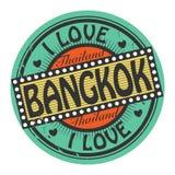 Grungefärgstämpeln med text älskar jag Bangkok inom vektor illustrationer