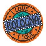 Grungefärgstämpeln med text älskar jag bolognaen inom stock illustrationer